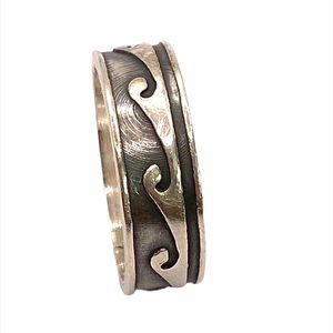 925 Sterling Silver Wave Band Men's Ring Size 10.5